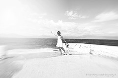 ... (Love me tender .**..*) Tags: sea sky woman white monochrome clouds greek photography nikon waves greece summers 2014 loutraki dimitra blacknadwhite bestportraitsaoi kirgiannaki peloponeesos