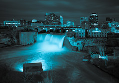 Gotham Falls (tristanotierney) Tags: leica longexposure blue blackandwhite ny newyork monochrome night mono waterfall upstate tint rochester nighttime waterfalls slowshutter blacknwhite tinted bnw highfalls leicam typ240