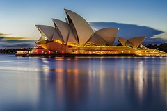Opera House Blue hour (merbert2012) Tags: travel reflection water sunrise fun reisen earlymorning australia worldheritagesite nsw bluehour operahouse sydneyharbour sydneyoperahouse longexposurephotography vividsydney