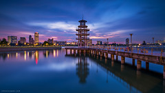 Piercing the Clouds (rh89) Tags: city pink blue light sunset urban cloud costa 3 reflection skyline architecture night clouds reflections lights twilight nikon singapore soft long exposure cityscape angle stadium cove jetty 4 wide 100mm foundation stop filter national 09 lee hour nd kit 12 nikkor filters scape grad holder graduated density stops 18mm 1835 neutral kallang tanjong d600 rhu gnd 1835mm 1835g