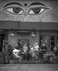 Monsoon (fotobydf) Tags: street urban bw white black contrast la los angeles santamonica monochromatic dining