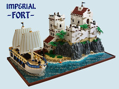 Imperial Fort (Disco86) Tags: world new castle water rock america sand ship lego fort pirates south age empire imperial sail caribbean rockwork