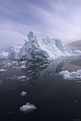 Ilulisat iceberg reflection (Paul Perton) Tags: sunset snow reflection ice square landscape shoreline glacier greenland fjord iceberg fiord afszoomnikkor2470mmf28ged ilulisat