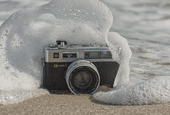 Surfs Up! (wowography.com) Tags: ocean summer stilllife ny newyork beach water suffolk sand nikon exposure surf waves gear naturallight bubbles longisland vintagecamera handheld splash 70300mm atlanticocean yashica washedup fireisland fillflash saltwater selfie cameraporn 2014 robertmoses classiccamera beachsand d90 alienskin wowography autofp sb700 exposu