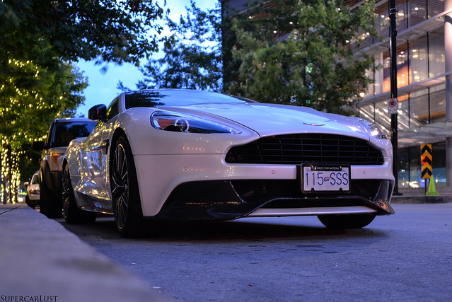 white vancouver britishcolumbia exotic supercar 2014 astonmartinvanquish diamondrally