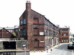 wharncliffe works (Harry Halibut) Tags: old red people building brick green walking industrial sheffield images lane allrightsreserved shalesmoor sheffieldbuildings colourbysoftwarelaziness imagesofsheffield sheffieldarchitecture 2014andrewpettigrew sheff1406029311