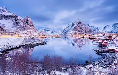 Arctic Mirror | Reine, Lofoten, Norway (v on life) Tags: light snow mountains water norway clouds sunrise reflections dawn village bluehour peaks lofoten reine fishingvillage rorbuer olstinden