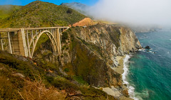Big Sur (California) - Bixby Creek Bridge 1 (cglphoto) Tags: ocean california park trip bridge sea cliff 3 seascape mountains west nature water cali fog creek canon landscape photography one 1 coast landscapes is big flora highway rocks waves pacific mark iii foggy scenic parks roadtrip cliffs hwy foliage pch coastal poi 5d sur polarizer overlook f4 circular bower lim hwy1 cpl bixby turnout 24105 mkiii mk3 polariser ca1 f4l cgl overlooks 24105mm chhorn chhorno