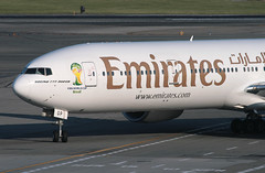 EMIRATES. BOEING 777 (777-300), A6-EGP, at JFK, New York, USA. June, 2014 (Tom Turner - SeaTeamImages / AirTeamImages) Tags: city nyc usa newyork tarmac brasil plane airplane airport sticker ramp unitedstates fifa taxi aircraft aviation transport jet twin jfk passengers emirates queens transportation airline pax passenger boeing worldcup airways airlines 777 bigapple kennedy airliner jetplane johnfkennedy portauthority fifaworldcup taxiing taxiway boeing777 tomturner 777300 bigtwin a6egp