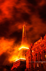 Eiffel Tower is Burning [Flickr Explore] (A-lain W-allior A-rtworks) Tags: paris france tower fire nikon war day tour fireworks eiffel national nikkor bomb guerre artifice bombe 14juillet d800 feux