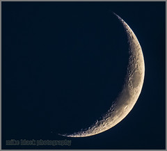 Young moon w Blue Sky (Mike Black photography) Tags: new blue moon black mike canon twilight science luna crescent crater shore jersey astronomy universe lunar cosmos 800mm