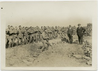 Pioneer Maori Battalion soldiers performing a Haka for Massey