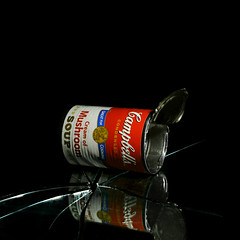an accidental photo (brescia, italy) (bloodybee) Tags: 365project campbells mushroom cream soup tin can andywarhol popart logo brand stilllife broken glass reflection mirror black red white square food