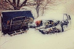 Wrecks in the Snow (Dave Linscheid) Tags: car automobile auto snow winter butterfield watonwancounty mn minnesota march122017 pickup truck samsunggalaxytablet