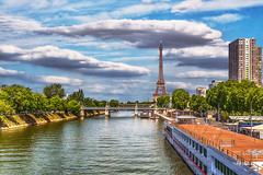 Paris in Summer (PokemonaDeChroma) Tags: paris summer july 2016 landscape sky river water trees boat seine building urbanlandscape cloud weather france