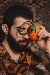 (des_orpheus) Tags: portrait beard bearded man guy boy orange persone ritratto fruit