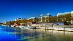 The docks (Ⓨ a s m i n e Ⓗ e n s +4 900 000 thx❀) Tags: quais dock docks bruxelles brussels blue river boat belgium hensyasmine leica leicaq
