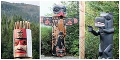 Herring Cove totem poles (karma (Karen)) Tags: ketchikan alaska herringcove rainforest sanctuary totempoles nativeart collages picmonkey