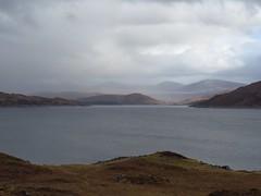 8631 The Nevis range is that way - behind them thar mountains (Andy - Busyyyyyyyyy) Tags: 20170319 ccc clouds glenquoich lll lochcuiach lochquoich misty mmm murky qqq reservoir rrr scotland water www