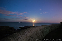 Full Moon (sidrog28) Tags: moon full sea rocks night wall brick cold wet new newcastle bright sky stars