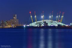 02 (Aubrey Stoll) Tags: o2 millenniumdome london england capital blue hour water reflection thames river dome tent concerts shows greenwich peninsular lights boats long exposure tourism night apartments uk