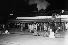 Early morning departure, 1976 (clarkfred33) Tags: americanfreedomtrain sp4449 stpetersburg southernpacific sphistory 1976 nighttime flashphoto crowd people famouslocomotive historic historiclocomotive vintage vintagephoto