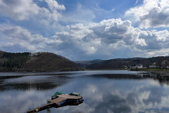 There is no sailing today (RIch-ART In PIXELS) Tags: rurberg rursee eifel deutschland leicadlux6 leica dlux6 water lake reservoir reflection sky clouds hillside pier