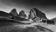 Sassolungo Huts (Kevin.Grace) Tags: dolomiti dolomites landscape black white monochrome sassolungo mountain italy huts