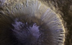 A Winter's View of a Gullied Crater (NASA's Marshall Space Flight Center) Tags: nasa nasas marshall space flight center jpl jet propulsion laboratory solar system mars reconnaissance orbiter mro planets