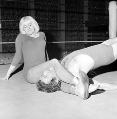Mitzi Muller - Vintage UK Wrestling (sabrebiade) Tags: wrestling wrestlingwomen wrestler british uk sexy fishnets headscissors mixedwrestling submissionhold