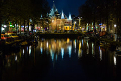 A Canal in Amsterdam (Jill Clardy) Tags: amsterdam europe canal night evening architecture reflection water le longexposure 201703264b4a0666 the netherlands explore explored medieval city gate waag nieuwmarkt square de clear