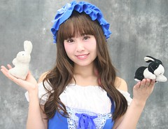 April Hoppers (emotiroi auranaut) Tags: girl woman lady lovely sweet nice pretty beauty beautiful little bo peep sheep blue white bonnet smile smiling attractive fetching sweetheart female feminine femininity costume gorgeous charm charming cool cute adorable