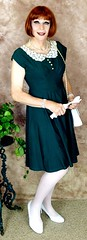 DSC07031 (msdaphnethos) Tags: transgender crossdresser greendress whitehosiery redhead daphnethomas her