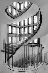 2 (Ulrich Neitzel) Tags: architecture architektur bw fenster geländer hamburg lines linien mzuiko918mm monochrome olympusem5 rathaus schwarzweiss spiral spirale staircase stairs treppe treppenhaus wandsbek window