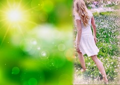 * Spensieratezza di primavera nel sole *  Spring lightheartedness in the sun  * (argia world 1) Tags: creatività ritratto ragazza prato margherite erba sole collage bagliore primavera creativity sun glow girl portrait meadow daisies grass springtime
