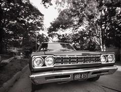 Pinhole Road Runner Front (rrunnertexas) Tags: leonardo pinhole nolens longexposure plymouth road runner roadrunner musclecar bw texas car vintage arista edu rodinal wideangle