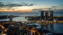 Marina Bay (Mopple Labalaine) Tags: singapore marina bay sands skyline skyscraper night water cityscape marinabay sunrise pentax k1 plasticfantastic