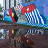 West Papua Friendship Mural, Darwin (NettyA) Tags: 2016 australia darwin nt northernterritory wetseason westpapuafriendshipmural wet reflection