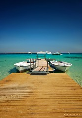 This Is Egypt (Hazem Hafez) Tags: jetty boats sea redsea sand beach island clear egypt hurghada blue sky