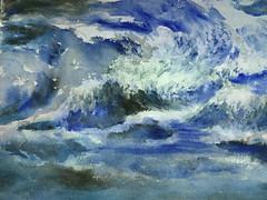 Blue motion (KerKaya) Tags: blue motion kerkaya water wave sea ocean surf abstract green colors magic moments art aquarelle watercolor watercolour painting