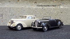 1937 Chrysler Imperial Eight C-14 Convertible Coupe & 1938 Chrysler Imperial Eight C-19 Coupe (JCarnutz) Tags: 143scale diecast brooklin whitemetal 1937 1938 chrysler imperial