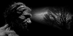 Neanderthal (andycurrey2) Tags: blackandwhite monotone mono black white noiretblanc schwartzweiss photoshop canon digital neanderthal man male clouds sky tree dark night face portrait history historic london beard hunter caveman light shade profile germany art outdoor classic grey ancient old extinct homo europe gibraltar france silhouette