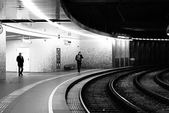 Curvature of time (No_Mosquito) Tags: vienna austria city urban night dark lights tramway station monochrome black white curve canon powershot g7x mark ii