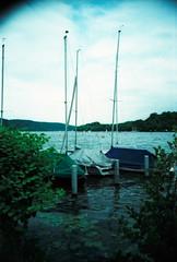 Baldeneysee (somekeepsakes) Tags: lake nature water analog germany deutschland boot see boat lca xpro crossprocessed essen wasser europa europe natur analogue 2009 segelboot agfactprecisa100 baldeneysee lcadiary