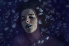 Infinite Descent (Angela Mary Butler) Tags: blue selfportrait detail ice water girl beautiful photoshop self bath purple creative surreal bathtub conceptual submerged iceplates nikond800 angelabutlerphotography
