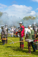 [2014-04-19@15.25.04a] (Untempered Photography) Tags: history costume smoke helmet battle medieval weapon sword knight tor armour reenactment combatant chainmail spear glastonburytor canonef50mmf14 perioddress polearm platearmour gambeson poleweapon mailarmour untemperedeye canoneos5dmkiii untemperedeyephotography glastonburymedievalfayre2014