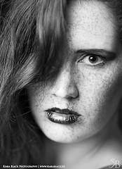 Angelique (kiara_black) Tags: portrait blackandwhite redhead portraiture freckles kiarablackphotograph