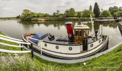 Shippy Boat - Dutton Locks, Cheshire. England 'Kenney' (Glyn Owen Photography & Image-Art) Tags: bridge english water port reflections boat canal cabin hole steps historic signals porthole locks british mast weaver steamer iconic navigation funnel dutton