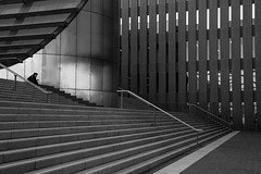 Sydney Uni on a Sunday (Salle-Ann) Tags: urban bw architecture blackwhite sitting steps sydney streetphotography universityofsydney