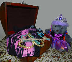 It Rained All Day So Marcey Amused Herself By Trying On Old Costumes And Jewelry. (marilyntunaitis) Tags: bear costumes jewelry plush teddybear stuffedanimal trunk the365toyproject